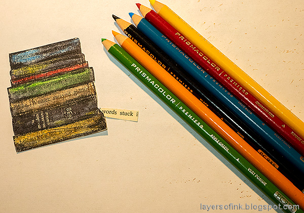 Layers of ink - Book Themed Tag Tutorial by Anna-Karin Evaldsson. Stamp with Darkroom Door Bookworm.