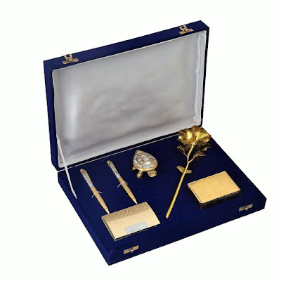 Gold Plated Gift Box With Rose, Playing Cards, Feng-Shui Tortoise, Pen And Visiting Card Holder