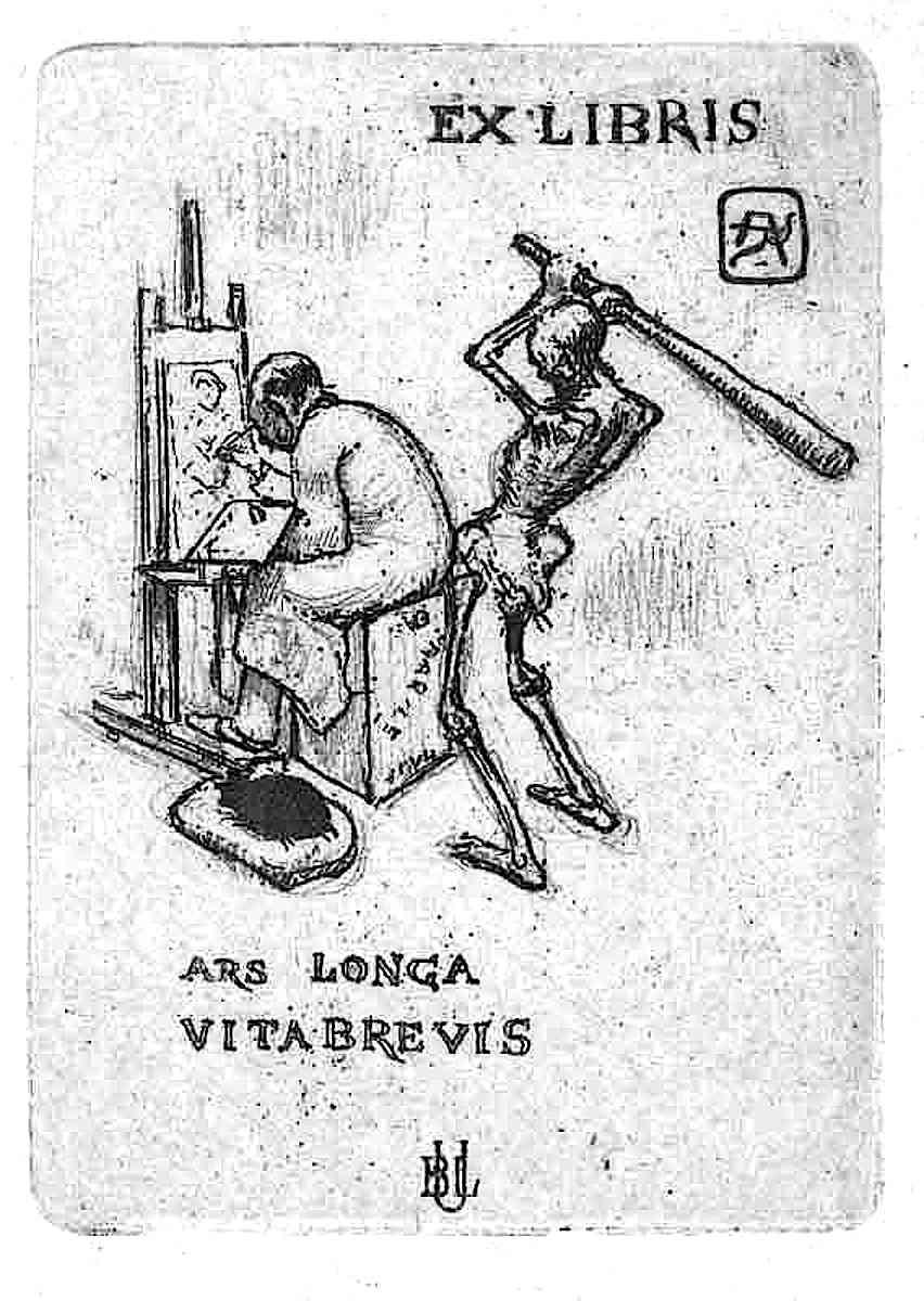 an Armand Rassenfosse 1919 bookplate, a skeleton attacks an artist