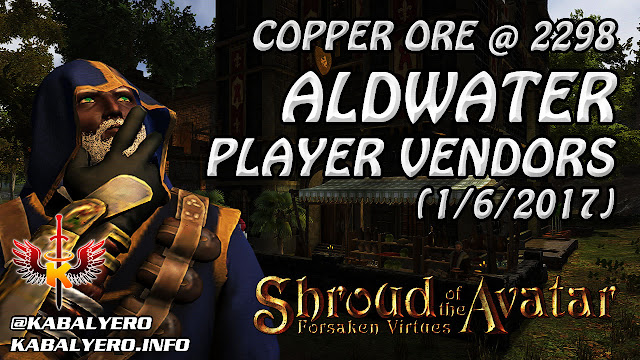 Shroud Of The Avatar Market Watch 💰 Copper Ore @ 2298, Aldwater Player Vendors (1/6/2017)