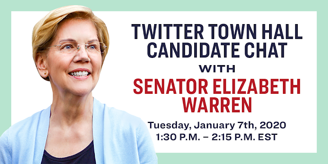 Twitter Town Hall Candidate Chat with Senator Elizabeth Warren - Tuesday, January 7, 2020 - 1:30 PM - 2:15 PM EST - Photo on the right of Senator Elizabeth Warren