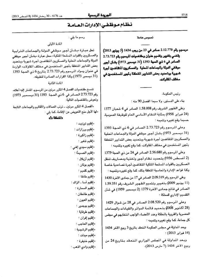 التعويض عن الإقامة حسب ترتيب العمالات و الأقاليم و الجماعات التابعة لها