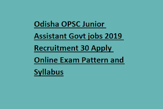 Odisha OPSC Junior Assistant Govt jobs 2019 Recruitment 30 Apply Online Exam Pattern and Syllabus
