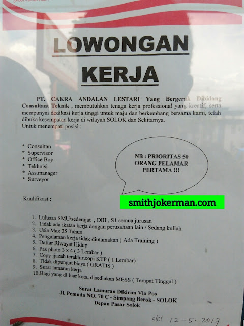 Lowongan Kerja Padang: PT. Citra Andalan Lestari Mei 2017