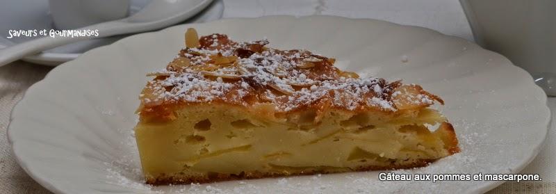 saveurs et gourmandises: gâteau aux pommes et mascarpone. bizcocho