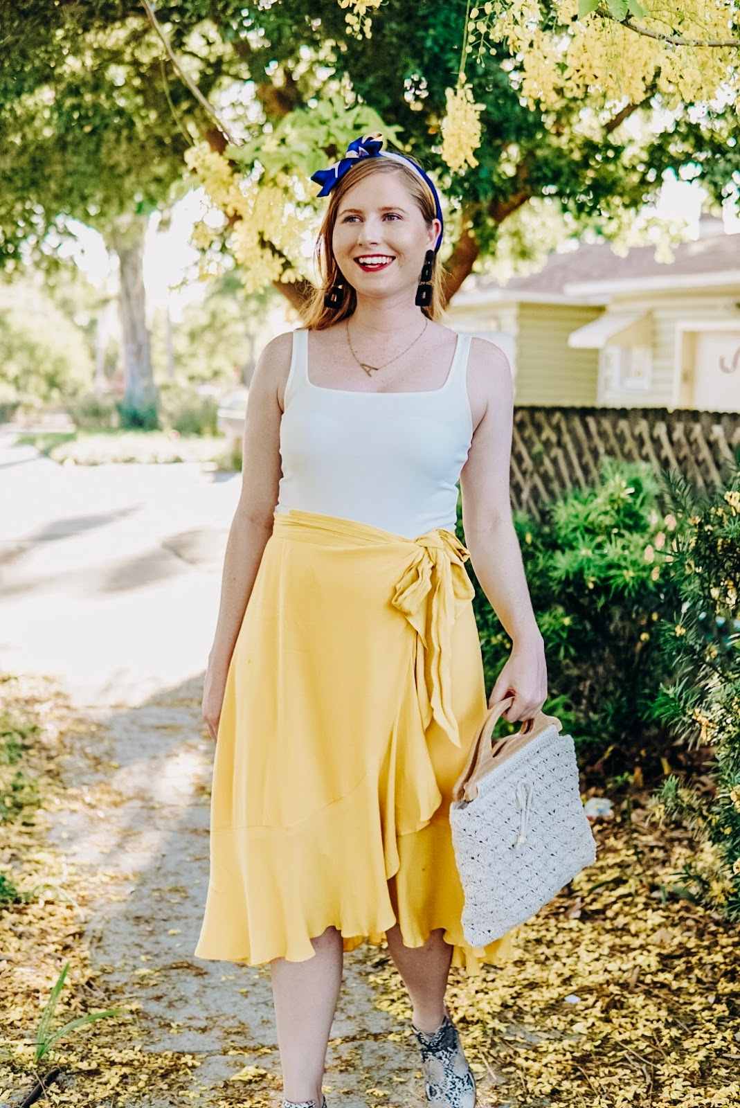 Styling a Casual Yellow Wrap Midi Skirt for Summer | Affordable by Amanda Tampa Blogger | Misred Outfitters Boutique Shopping