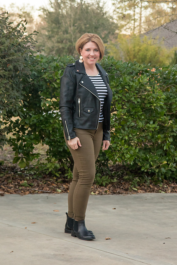 Olive, moto and stripes