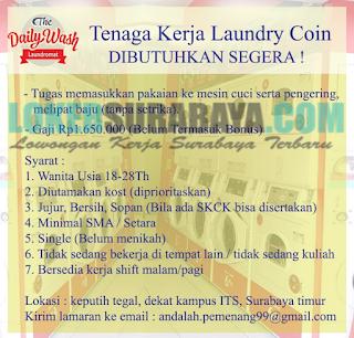 Loker Surabaya Terbaru di The Daily Wash Laundromat Juni 2019