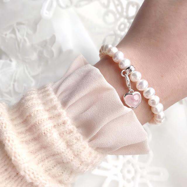 Thomas Sabo Pearl Bracelet & Rose Quartz Heart Charm