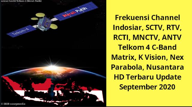 Frekuensi Channel Indosiar, SCTV, RTV, RCTI, MNCTV, ANTV Telkom 4 C-Band Matrix, K Vision, Nex Parabola, Nusantara HD Terbaru Update September 2020