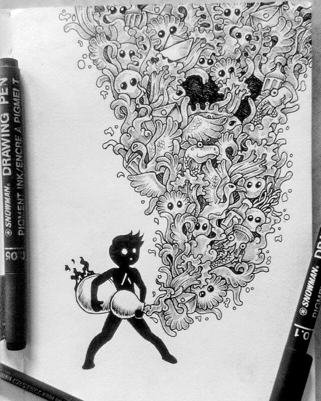 03-Doodle-spirit-Mr-A-Black-and-White-Ink-Doodles-www-designstack-co