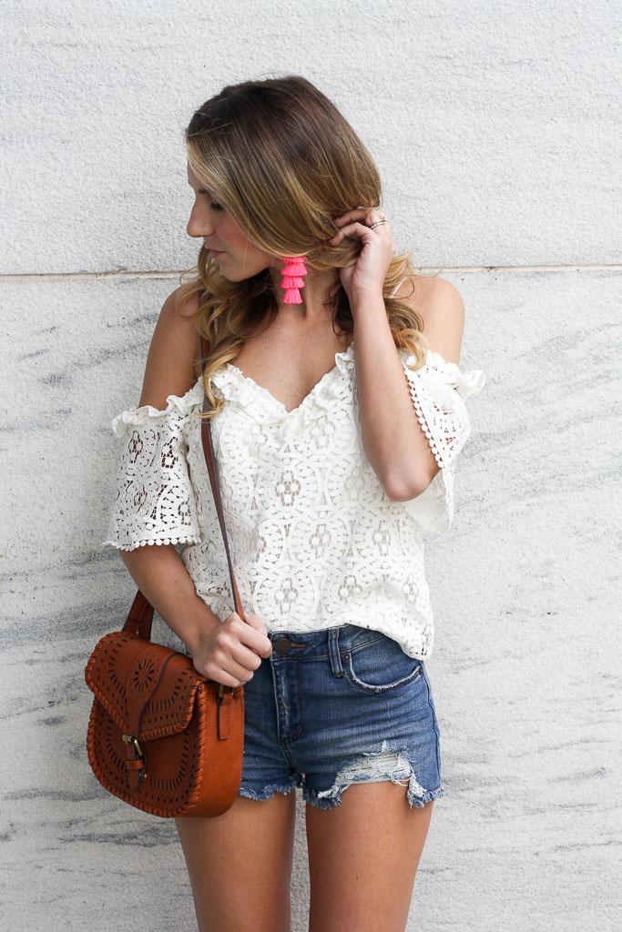 Summer Essentials - a pretty white top with under $50 denim cutoffs