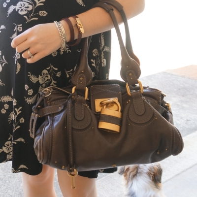 AwayFromTheBlue | Chloe brun Paddington black dress brown bag