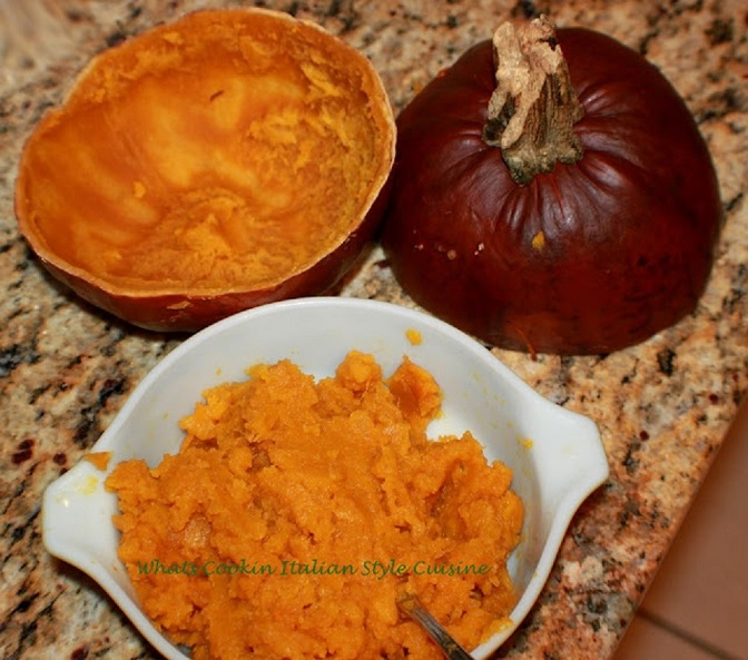 This is homemade roasted pumpkin puree and the shell of the sugar pie pumpkin is in the background