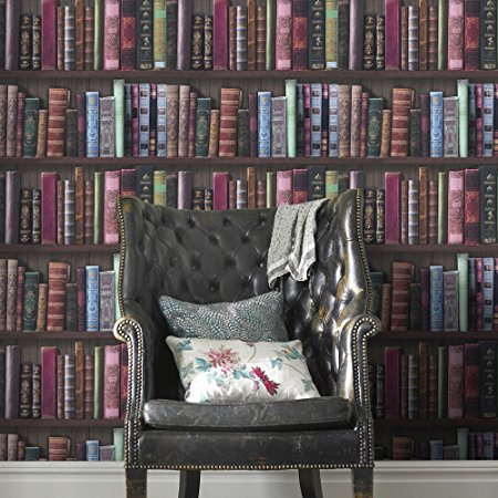 Graham & Brown Book Shelf Bookcase Library Wallpaper
