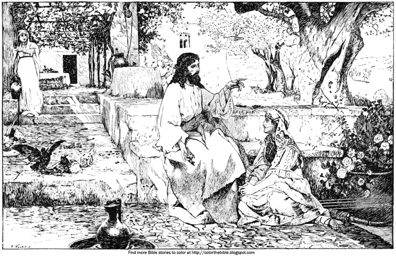 Color The Bible: Jesus talks with Mary and Martha in this ...