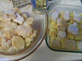 Ratafia cakes, macaroons, and sponge cake layered for a Victorian trifle.