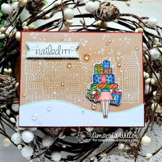 Shopping Card by Amanda Wilcox | Main Street Christmas and Christmas Haul Stamp Sets by Newton's Nook Designs #newtonsnook