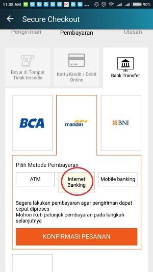 bayar belanjaan Lazada lewat Internet Banking Mandiri