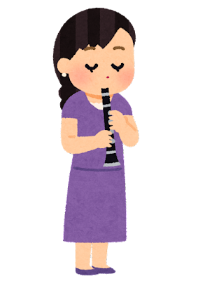 エスクラリネットを吹く人のイラスト(女性)