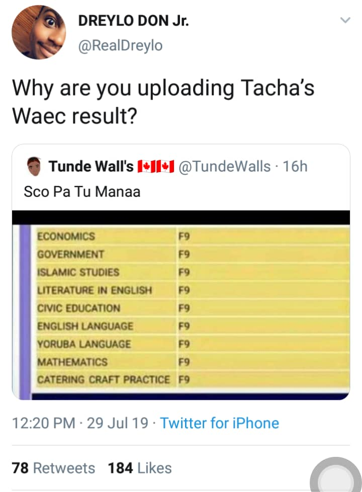 BBNaija: Twitter Users Slams Tacha, Upload F9 WAEC Result To Mock Her – See Photo here