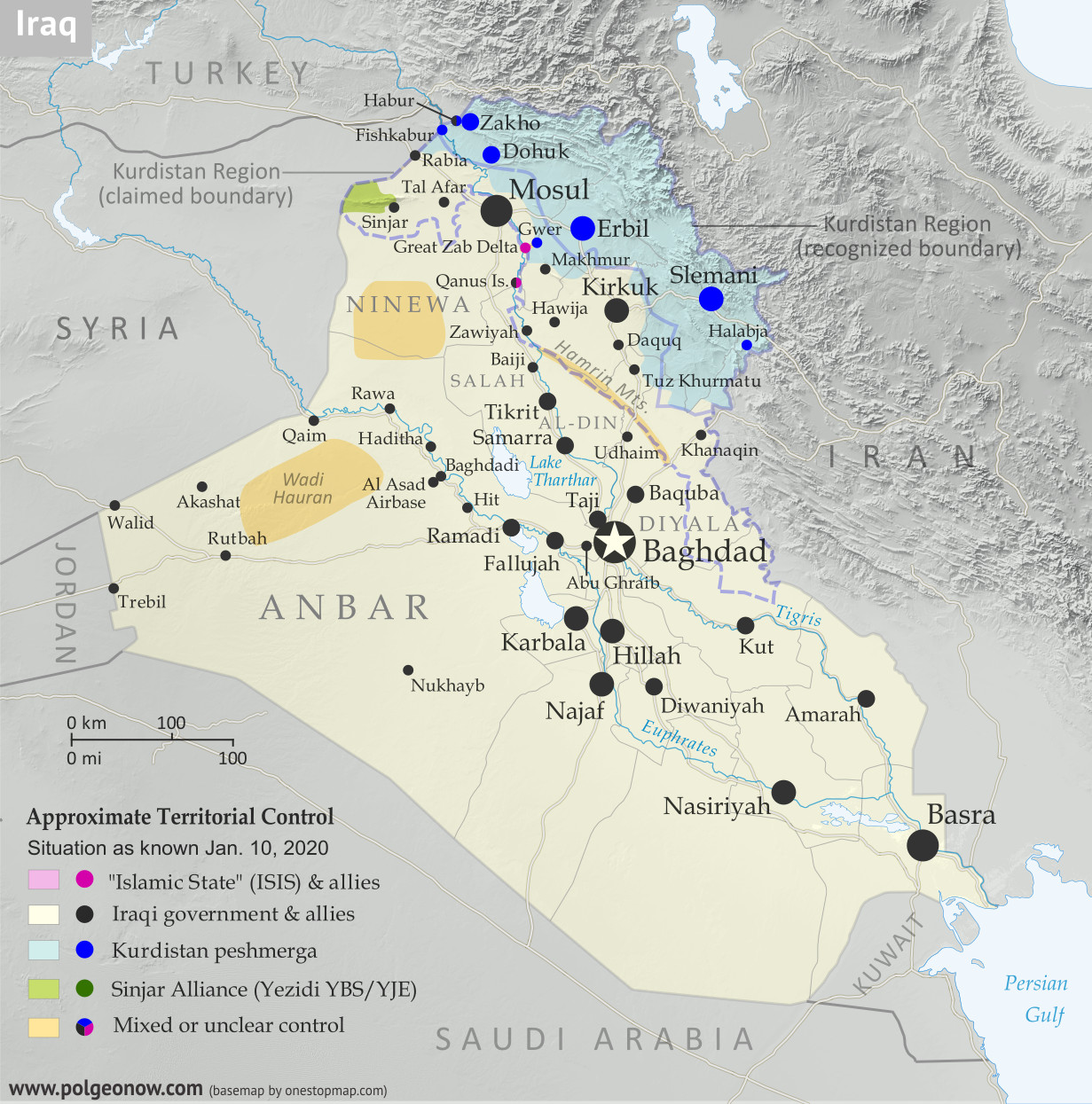 Iraq Control Map 2020, updated to January 10. Shows areas of Iraq under ISIS control (Islamic State/ISIL/Daesh), and under the control of the Baghdad government, the Kurdistan Peshmerga, and the Yezidi Sinjar Alliance (YBS and YJE). Colorblind accessible.