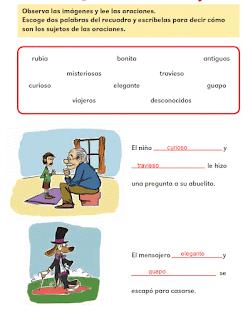 Respuestas Apoyo Primaria Español 2do grado Bloque 1 lección 10 ¿Cómo son los sujetos?