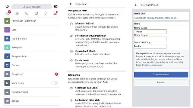 cara mengganti username facebook di aplikasi