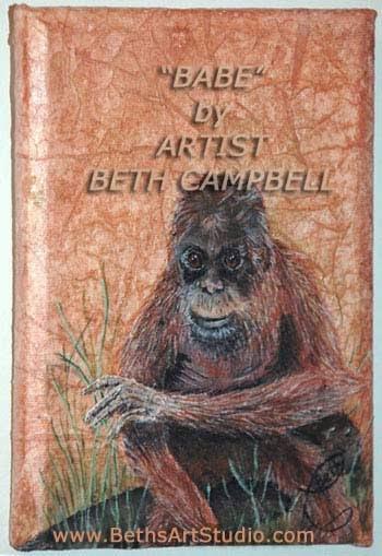 mixed media painting oranutan Beth Campbell