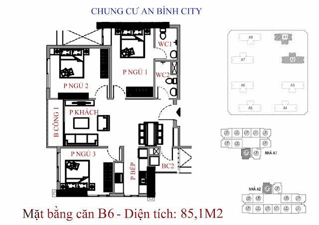 mặt bằng căn hộ b6 - Diện tích 85,1m2