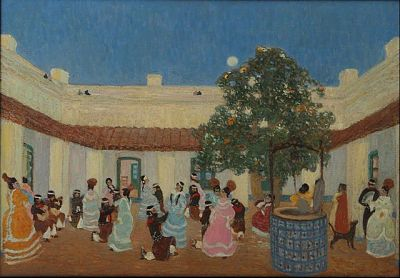 Patio, de Pedro Figari. En la pintura se observan gauchos y chinas bailando en un patio con aljibe.