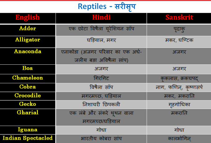Reptiles name in English, Hindi and Sanskrit - List and table