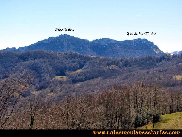 Ruta al Pico Pierzu: Vista de Peña Subes y Sen de los Mulos