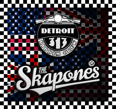 The cover artwork features both the American and British flags with a checkerboard pattern over them; and both band's logos.