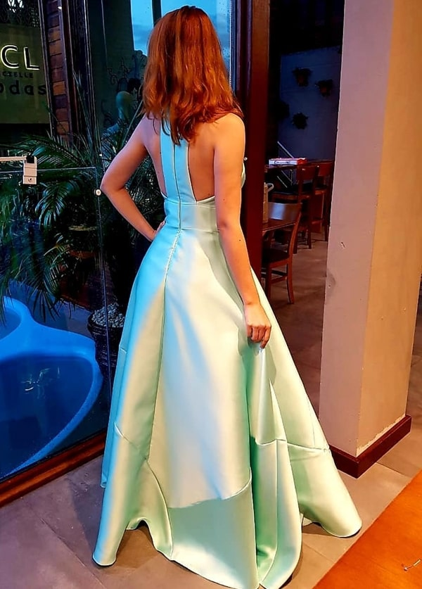 vestido de festa longo verde claro menta para madrinha de casamento
