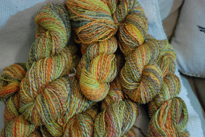 Handspun yarn combo spin collection, one sweater's worth of marled combospun yarn