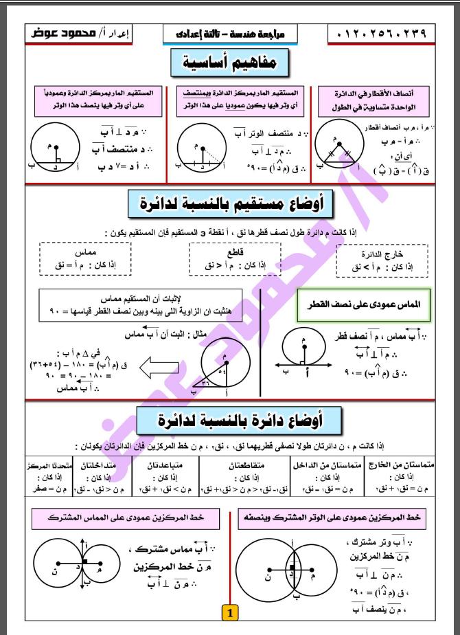 اقوى مراجعة نهائية هندسة للصف الثالث الإعدداى ترم ثاني 2021 مستر محمود عوض