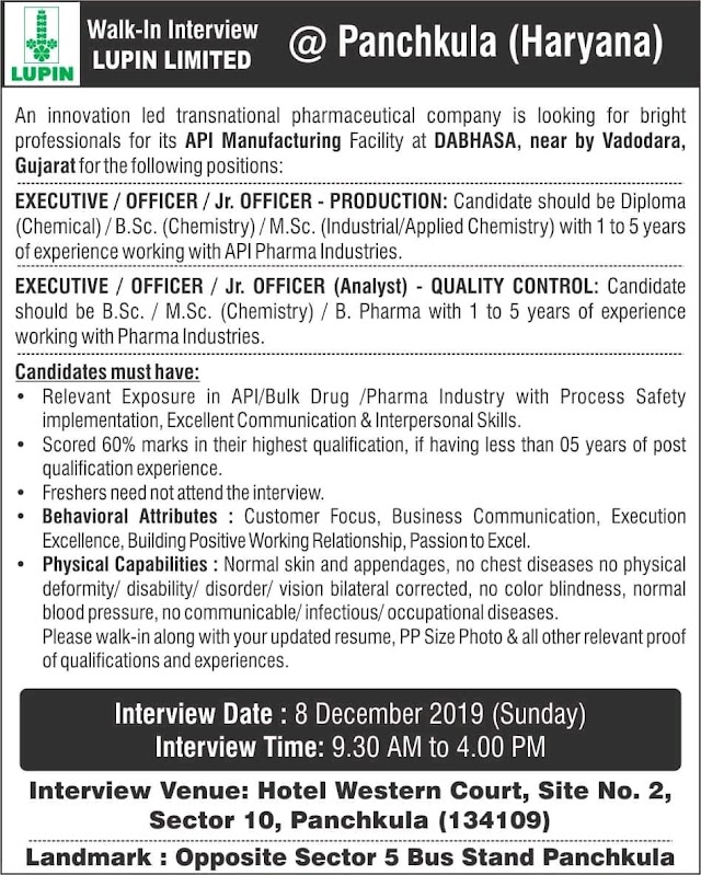 Lupin | Walk-in for Production-QC on 8 Dec 2019 | Pharma Jobs in Panchkula