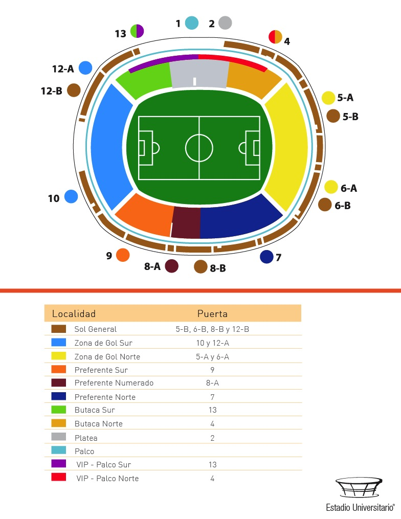 ubicacion de localidades estadio universitario apuntes