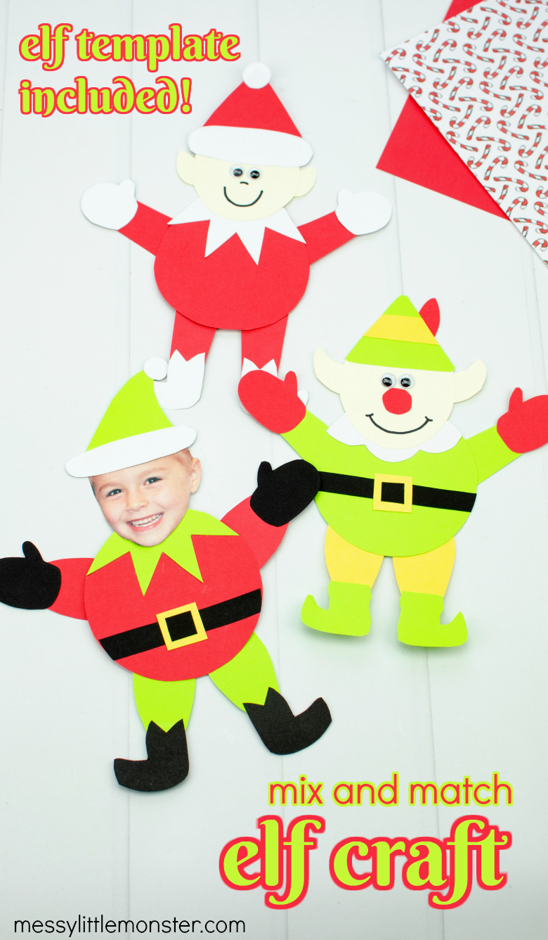 Mix and match paper elf craft for kids. Printable elf template included.
