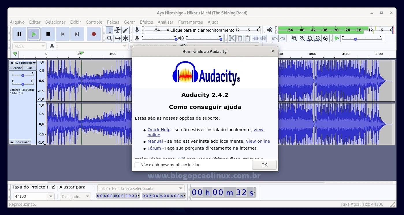 Audacity executando no Debian 11 Bullseye