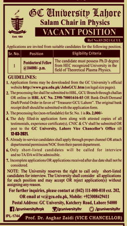 Jobs in Government College GC University Lahore 2021