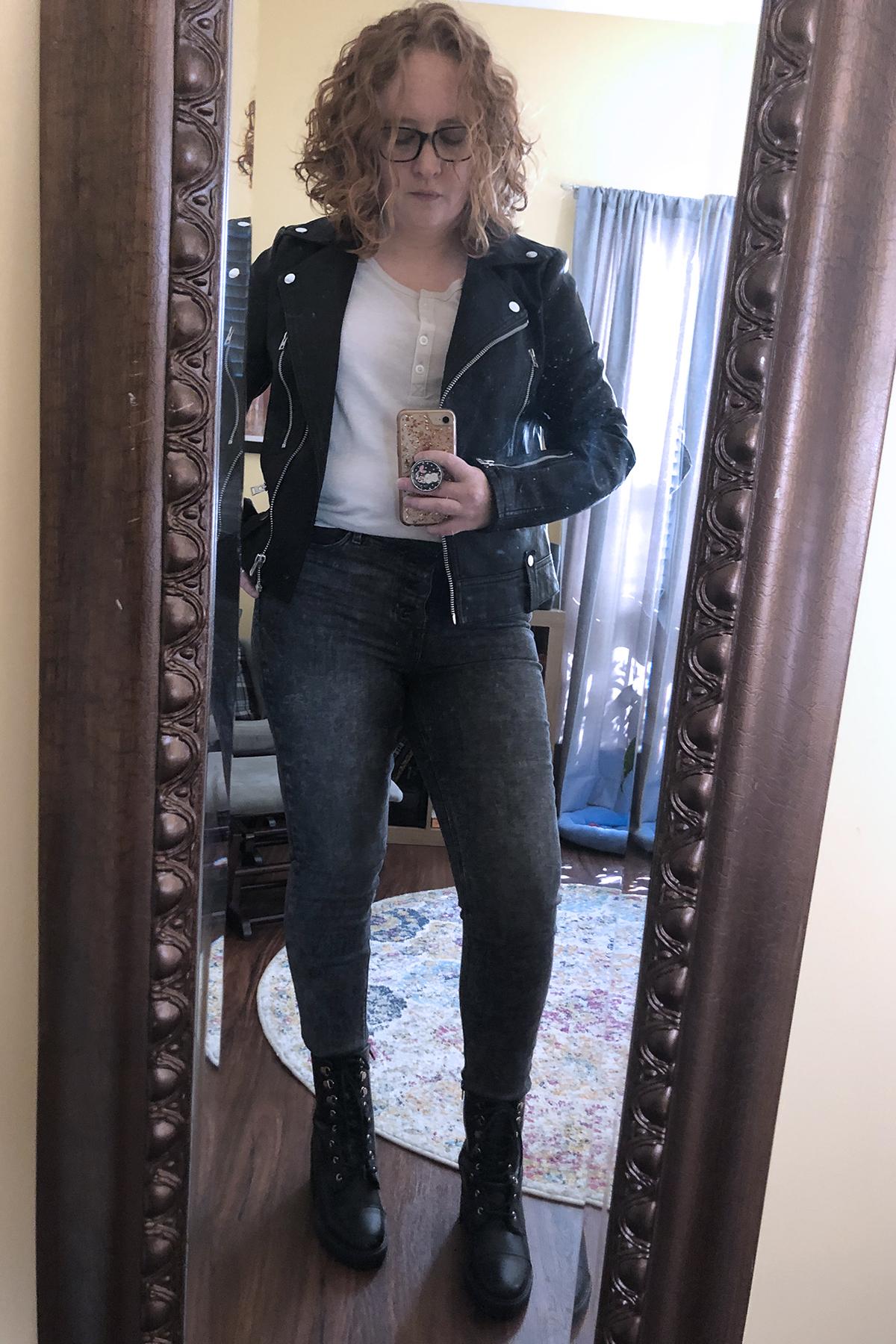 black jeans leather jacket combat boots