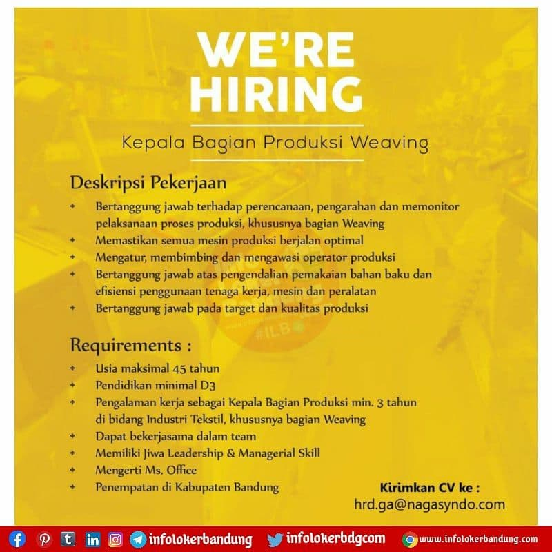 Lowongan Kerja PT. Nagasyndo Berkat Tritunggal Bandung Agustus 2021