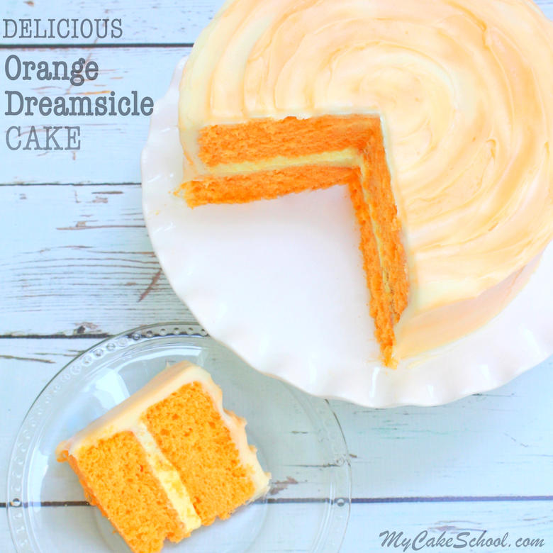 This homemade Orange Dreamsicle Cake Recipe is the BEST!