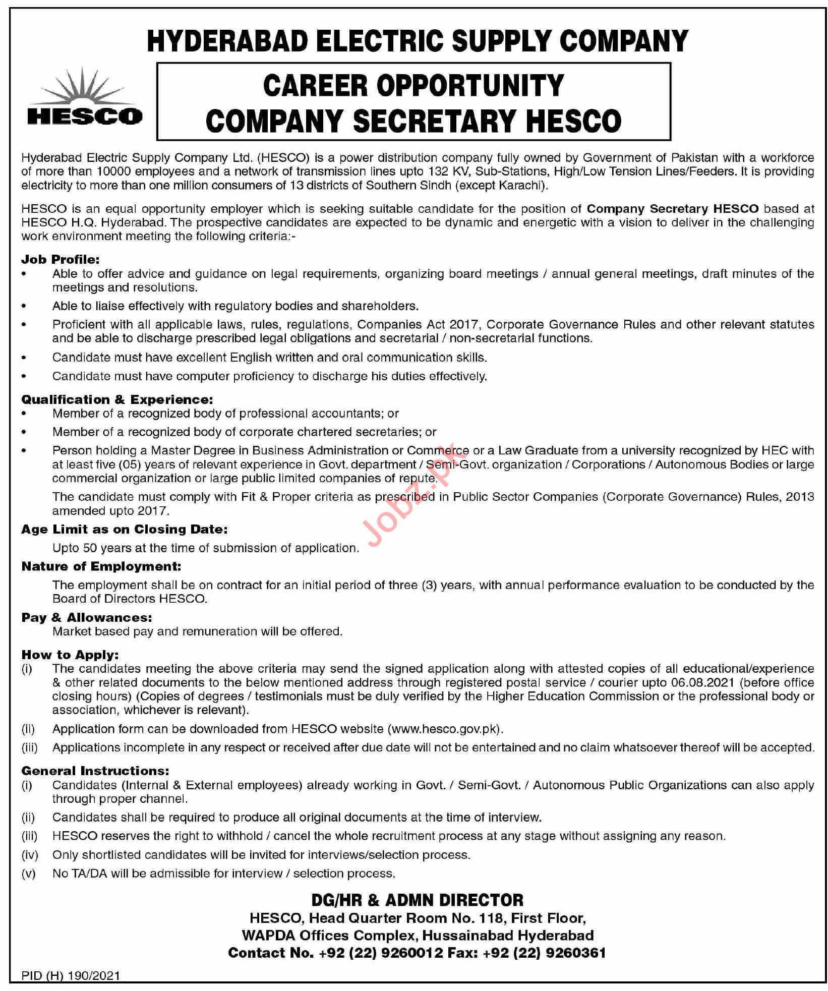 Hyderabad Electric Supply Company HESCO Jobs 2021 Secretary