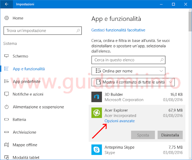App Windows 10 link Opzioni avanzate