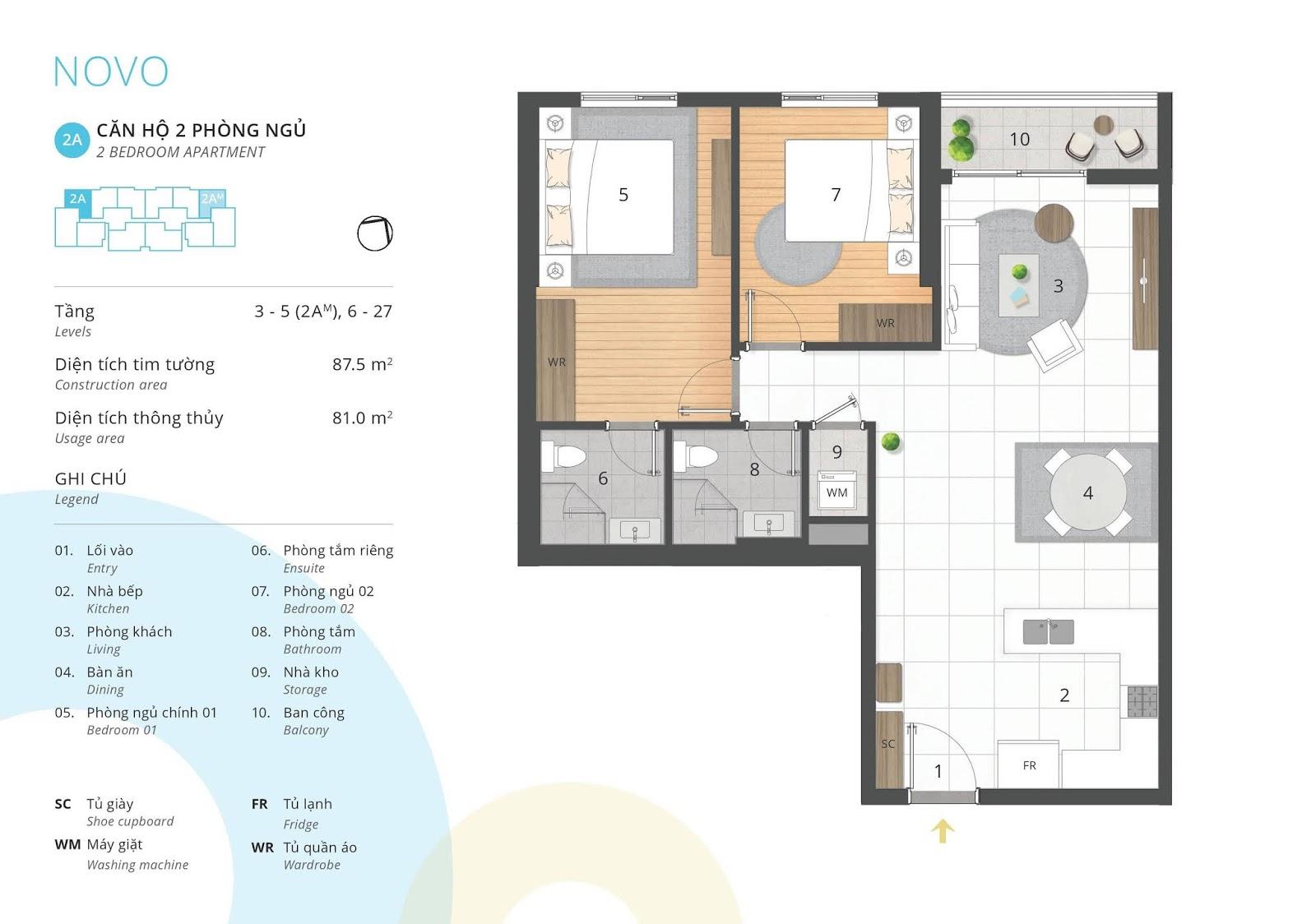 Mặt bằng căn hộ 2 phòng ngủ 81 m2 thông thủy tòa NOVO dự án Kosmo