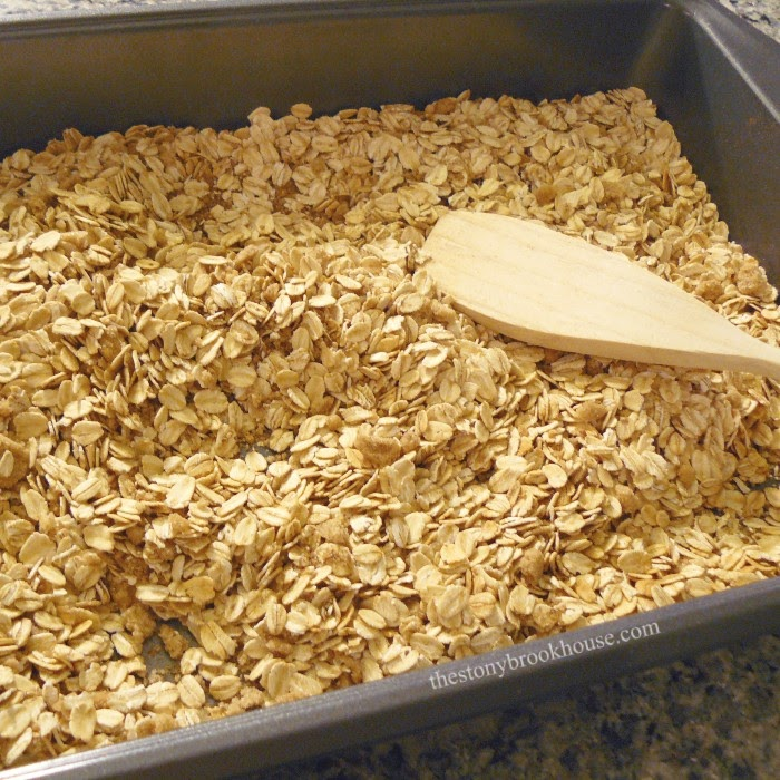 Mix and mash dry granola ingredients