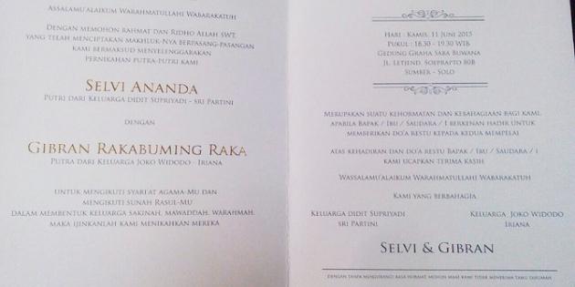 Undangan sederhana pernikahan anak Jokowi